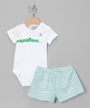 White Gator Bodysuit & Green Stripe Shorts - Toddler