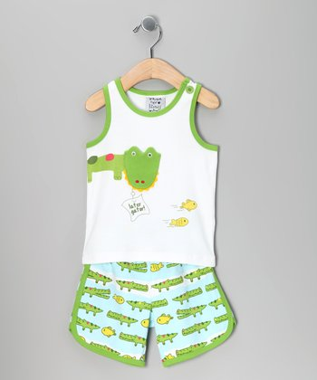 Green Latergator Tank & Shorts - Toddler
