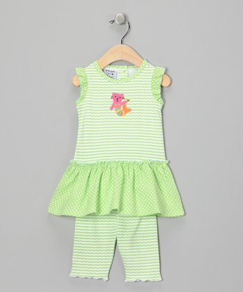 Green Drop-Waist Dress & Leggings - Infant & Toddler