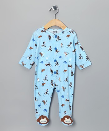 Blue Monkey Business Footie - Infant