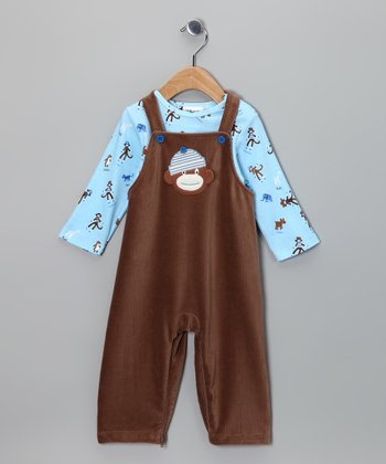 Brown Monkey Business Tee & Overalls - Infant