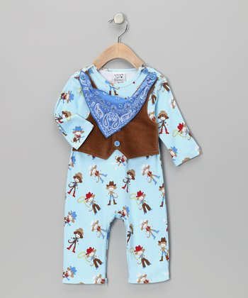 Blue Vested Spaghetti Western Playsuit - Infant