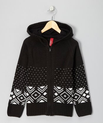 Black Knit Zip-Up Hoodie - Girls