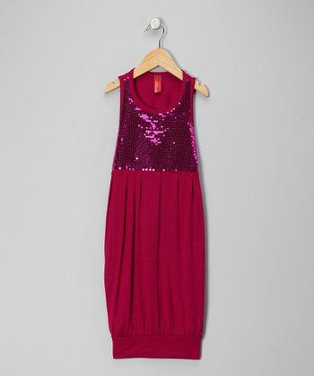 Dark Pink Sequin Dress - Girls