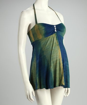 Blue & Green California Dreaming Maternity Tankini - Women