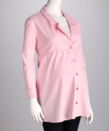 Nicole Pink Stripe Button-Up Maternity Top - Women