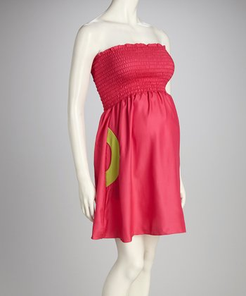 Pink Sherbet Lollipop Maternity Strapless Dress - Women