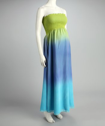 Green & Blue Ombré Maternity Maxi Dress