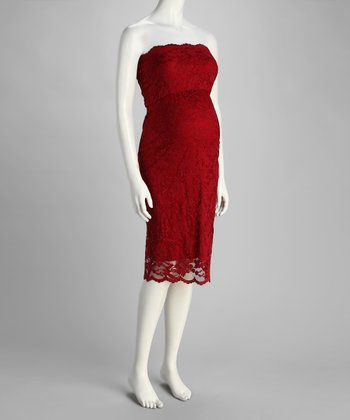 Red Lace Maternity Strapless Dress - Women & Plus