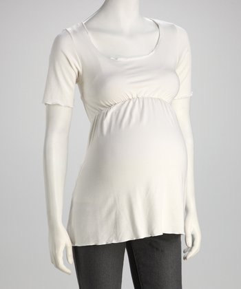 Nicole White Maternity Babydoll Top - Women