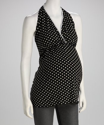 Black Polka Dot Maternity Halter Top - Women