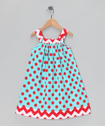 Blue & Red Polka Dot Jumper - Toddler & Girls