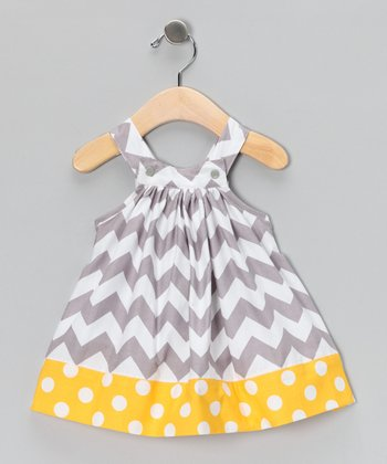 Gray & Yellow Zigzag Jumper - Toddler & Girls