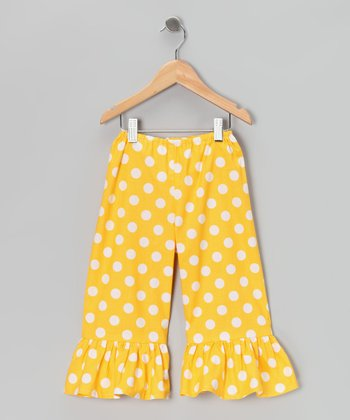 Yellow Polka Dot Ruffle Pants - Toddler & Girls
