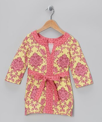 Pink & Yellow Brocade Tunic - Toddler
