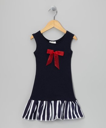 Navy & Red Bow Drop-Waist Dress - Toddler & Girls