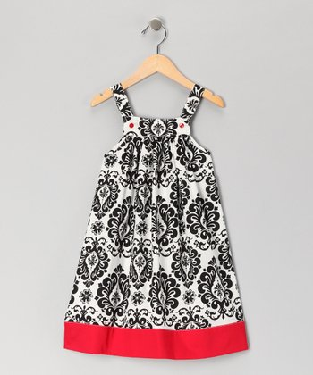 Nikkiloo Red & Black Damask Jumper - Toddler & Girls