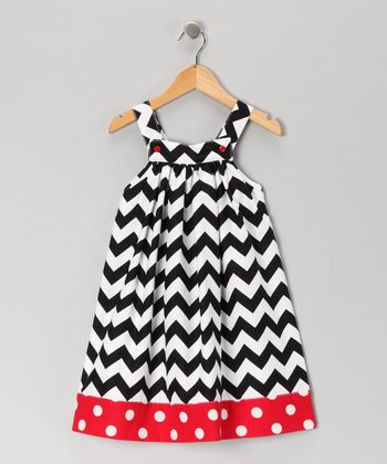 Red & Black Zigzag Jumper - Toddler & Girls