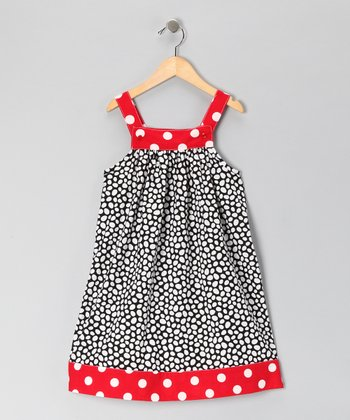 Nikkiloo Red & Black Polka Dot Jumper - Toddler & Girls