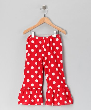 Red Polka Dot Ruffle Pants - Toddler & Girls