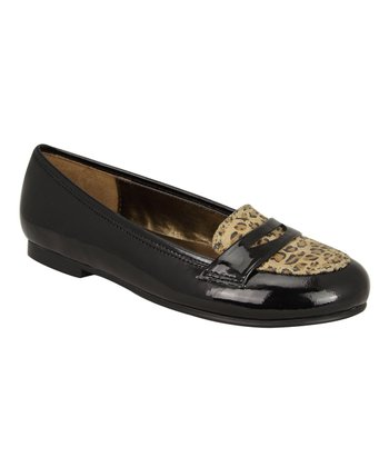 Gina Black Patent Leopard Loafers