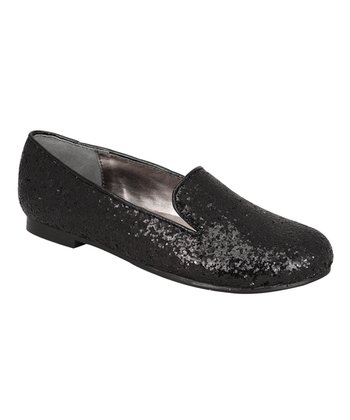 Gwen Black Glitter Slip-On Flats
