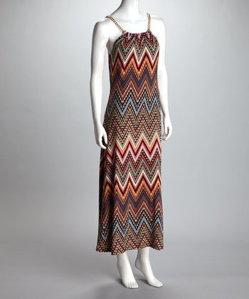 Orange Chain Zigzag Maxi Dress - Women & Plus
