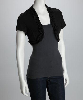 Black Ruffle Shrug