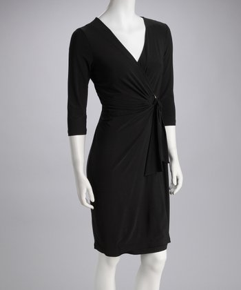 Black Surplice Dress - Women