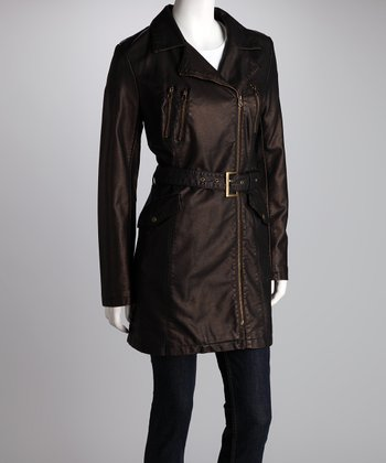 Nine West Bronze Belted Faux Leather Jacket