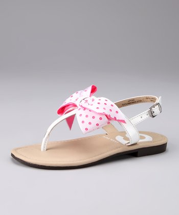 Nine West White & Fuchsia Picnic Sandal