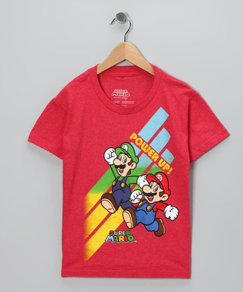 Red Super Mario 'Power Up' Tee - Kids