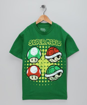 Green 'Super Mario' Tee - Kids