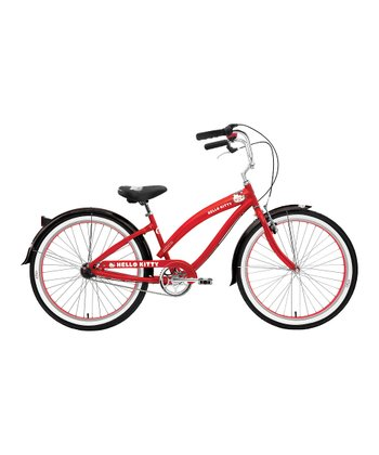 Red Hello Kitty 26'' Wheel Three-Speed Retro Bicycle