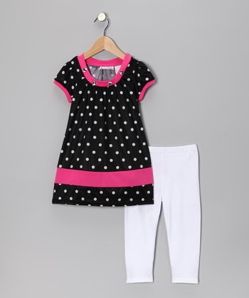 Black Polka Dot Tunic & White Leggings - Toddler & Girls