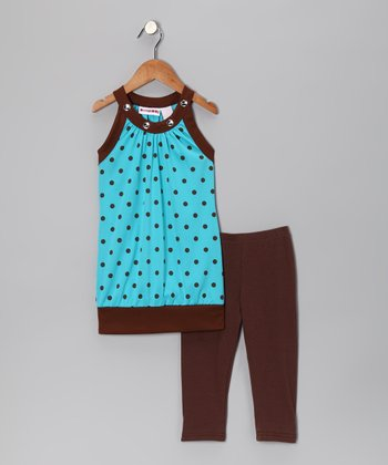 Blue Polka Dot Sleeveless Tunic & Leggings - Toddler & Girls