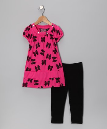 Pink Bow Tunic & Black Leggings - Toddler & Girls