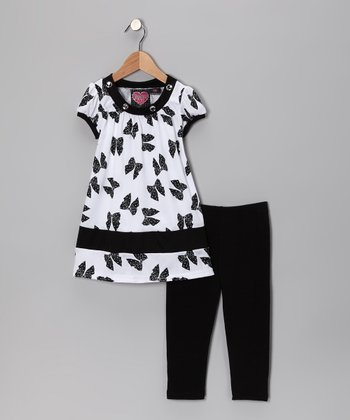 White Bow Tunic & Black Leggings - Toddler & Girls