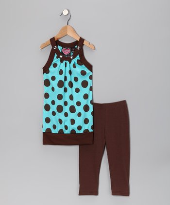 Blue & Brown Polka Dot Tunic & Brown Leggings - Girls