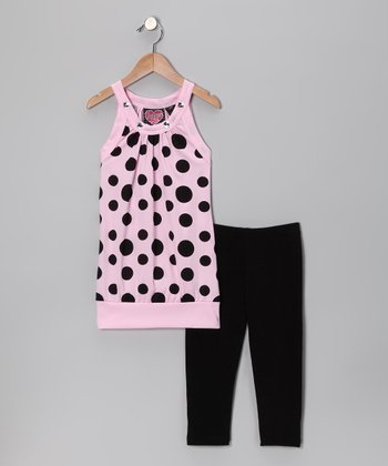 Light Pink Polka Dot Tunic & Black Leggings - Girls