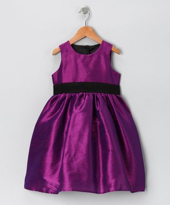 Purple & Black A-Line Dress - Infant, Toddler & Girls