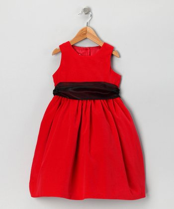 Red & Black Sash Dress - Infant, Toddler & Girls