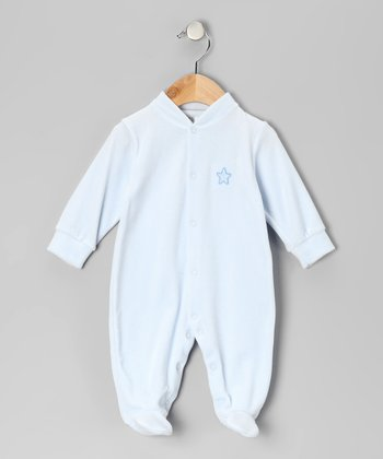 Light Blue Star Velour Footie