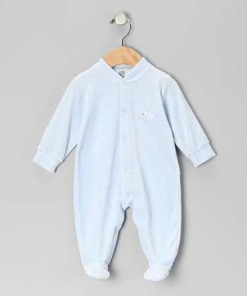 Light Blue & White Stripe Elephant Velour Footie