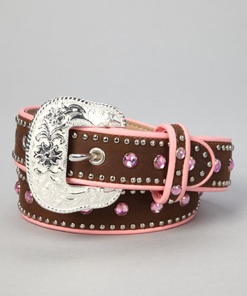 Nocona Belt Co. Pink Rhinestone Stud Belt