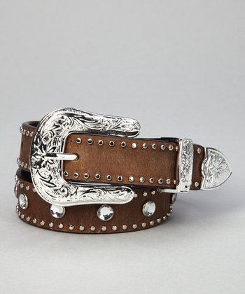 Nocona Belt Co. Rhinestone Stud Leather Belt