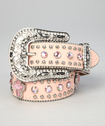 Nocona Belt Co. Pink Crystal Cross Belt