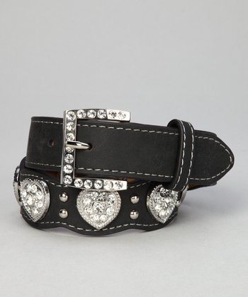 Nocona Belt Co. Black Scalloped Rhinestone Heart Belt
