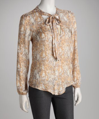 Yellow Snakeskin Button-Up