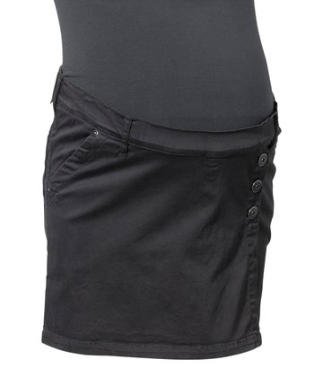 Black Woven Under-Belly Maternity Skirt